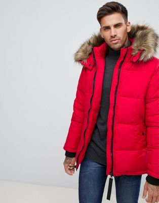 River Island Puffer Jacket With Faux Fur Hood In Red