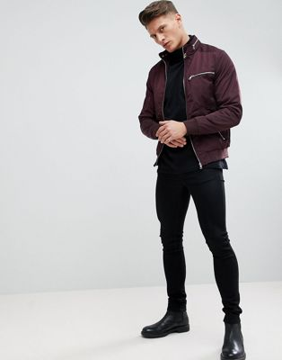 River Island Racer Jacket In Burgundy