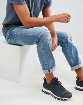 River Island regular fit jeans with rips in light wash blue