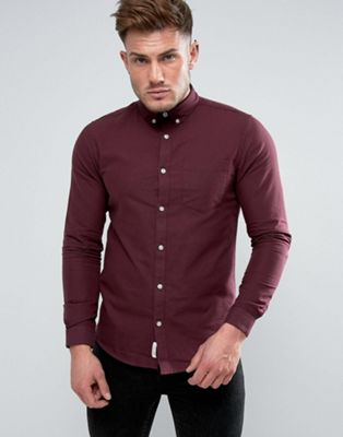 River Island Regular Fit Oxford Shirt In Burgundy