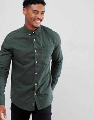 River Island regular fit oxford shirt in dark green