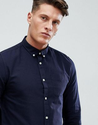 River Island Regular Fit Oxford Shirt In Navy