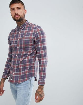 River Island Regular Fit Shirt In Red Fade Check