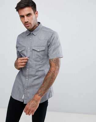 River Island regular fit western denim shirt in grey wash