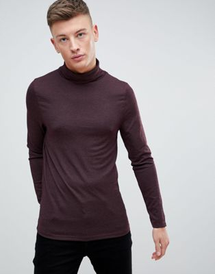 River Island Ribbed Roll Neck Jumper In Burgundy