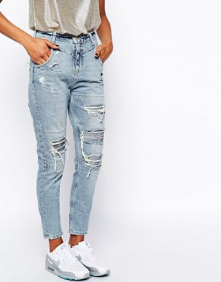 Image 1 of River Island Ripped Mom Jean