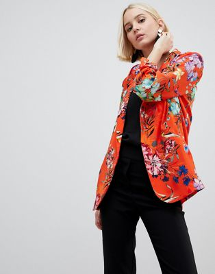 River Island Ruched Sleeve Floral Blazer