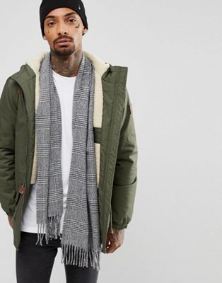 River Island Scarf In Grey Check