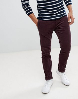 River Island Skinny Cord Trousers In Burgundy