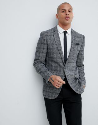 River Island skinny fit blazer in grey check