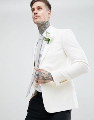 River Island skinny fit blazer in off white
