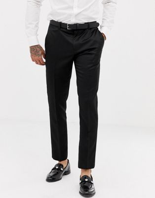 Image 1 of River Island skinny fit classic tuxedo pants in black