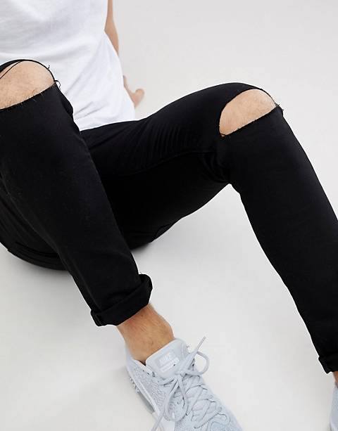 River Island skinny fit jeans with rips in black