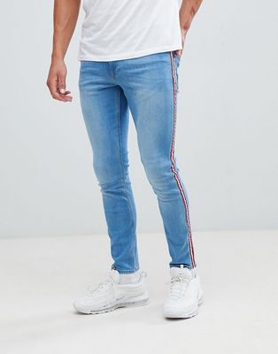 River Island skinny fit jeans with side taping in light blue wash