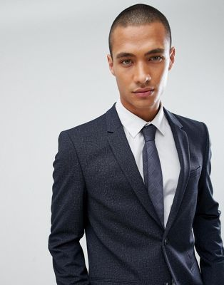 River Island Skinny Fit Jersey Blazer In Navy