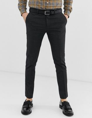 River Island Skinny Fit Smart Pants In Charcoal
