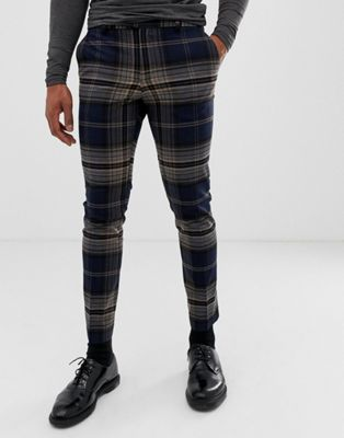 River Island skinny fit smart trousers in large navy check