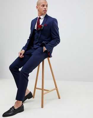 Image 1 of River Island skinny fit suit pants in navy