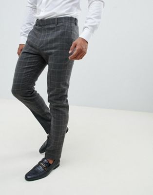 River Island skinny fit suit trousers in dark brown