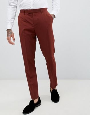 River Island skinny fit suit trousers in rust