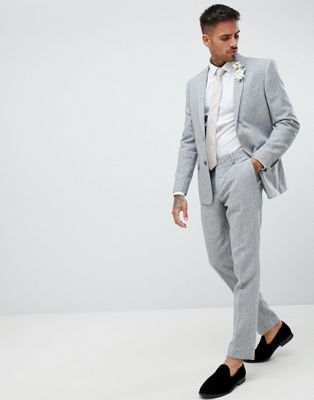 River Island skinny fit suit trousers with herringbone print in grey