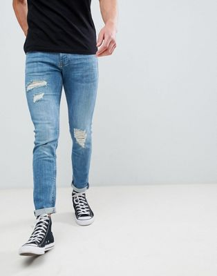 River Island Skinny Jeans With Rips In Mid Wash