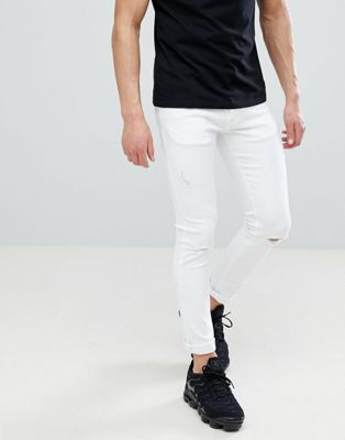 River Island Skinny Jeans With Rips In White