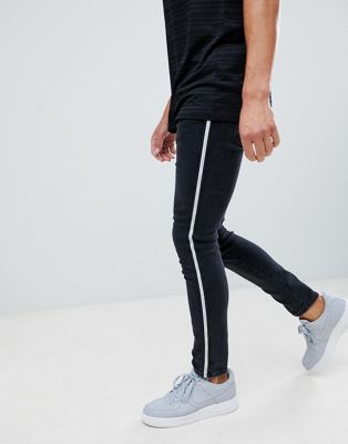 River Island skinny jeans with side stripe in black