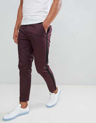 River Island skinny trousers with side stripe in burgundy