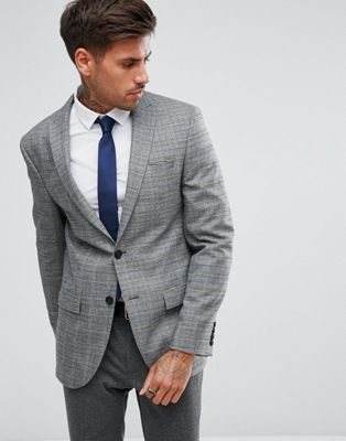 River Island Slim Blazer In Grey Check