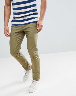 River Island Slim Chinos In Khaki
