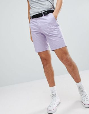 Image 1 of River Island Slim Fit Chino Shorts With Belt In Lilac