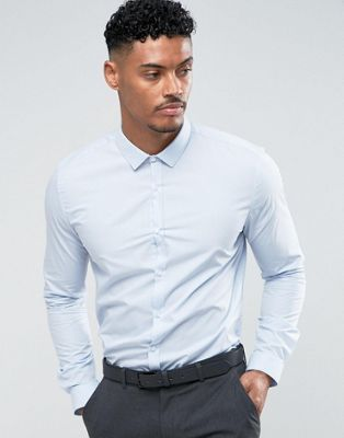 River Island slim fit shirt in light blue