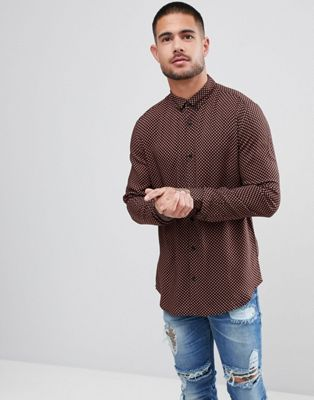 River Island Slim Fit Shirt With Tile Print In Black