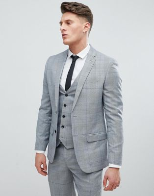 River Island Slim Fit Suit Jacket In Gray Check
