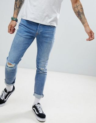 River Island slim jeans with rips in mid wash blue