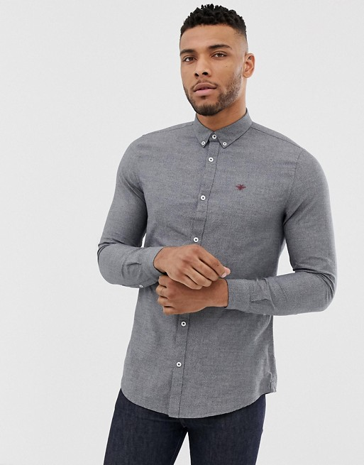 River Island slim oxford shirt in gray