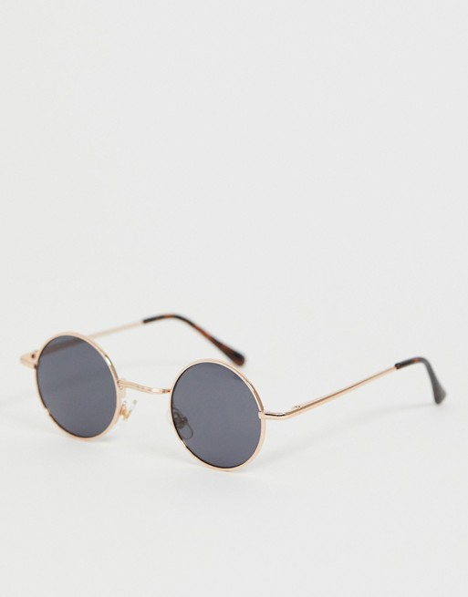 Image 1 of River Island small round sunglasses in gold