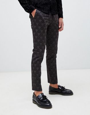 River Island smart trousers with geo print in grey