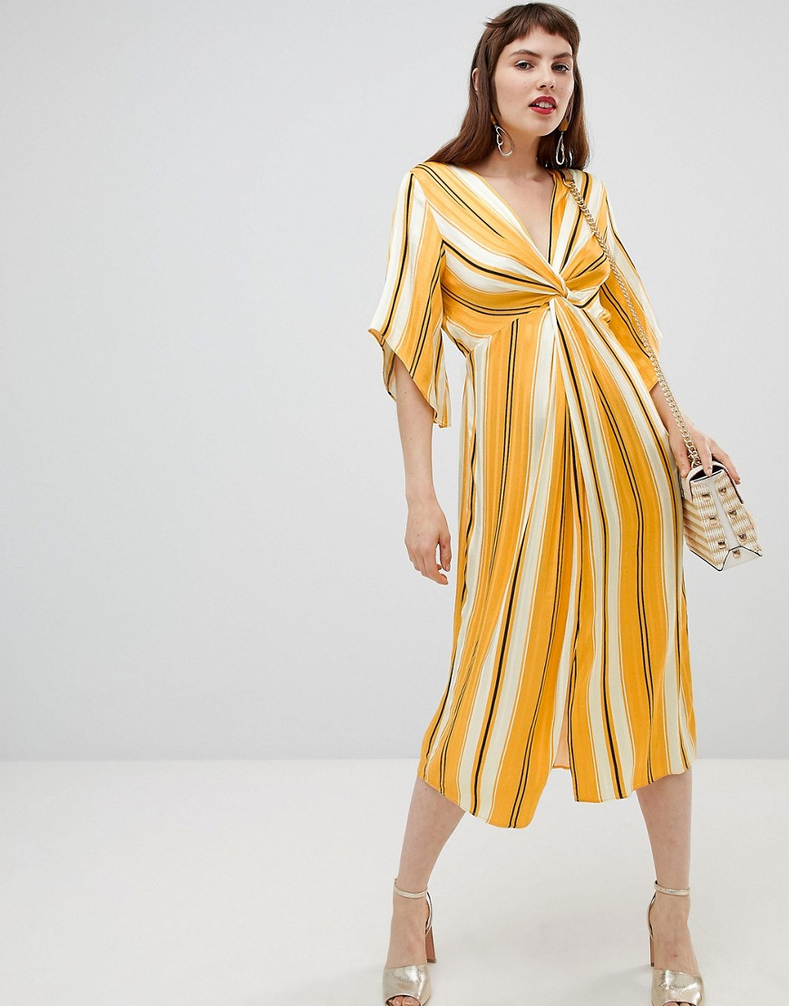 River Island smock midi dress with knot detail in stripe-Yellow - River Island online sale