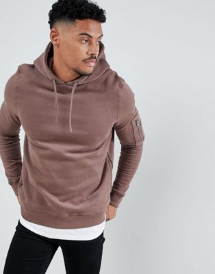 River Island Soft Feel Hoodie With MA1 Pocket In Dusty Pink