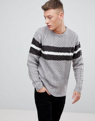 Image 1 of River Island Stripe Cable Knit Sweater In Gray