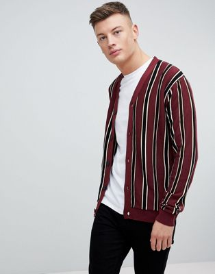 River Island Striped Cardigan In Burgundy