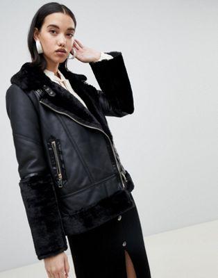River Island studio leather aviator jacket in black