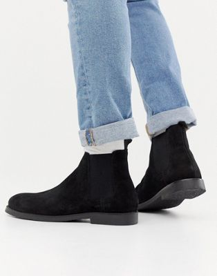River Island Suede Boots In Black
