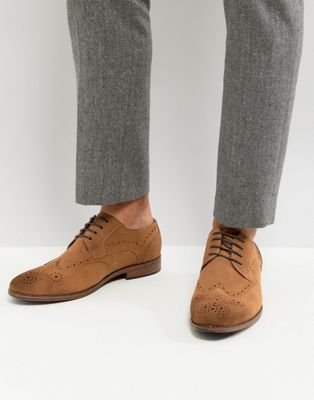 River Island Suede Brogue In Tan