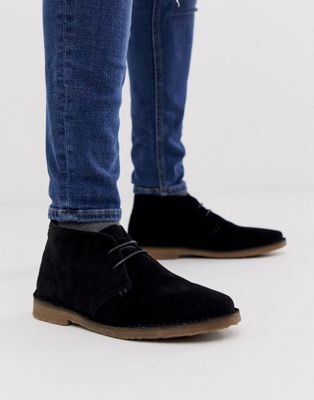 River Island suede desert boot in black