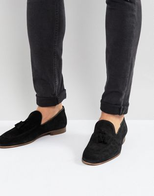 River Island Suede Loafer With Tassel In Black