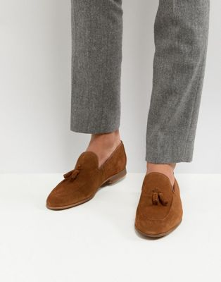 River Island Suede Loafers With Tassels In Tan