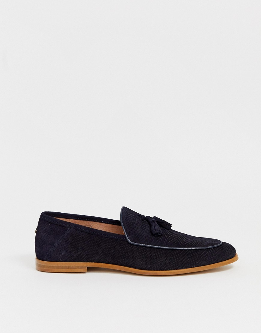 River Island Suede Tassel Loafers With Bee In Navy by River Island